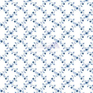 Tricoline Floral Valentina Cor 08 (Azul) 100% Algodão, Unid. 50cm x 1,50mt