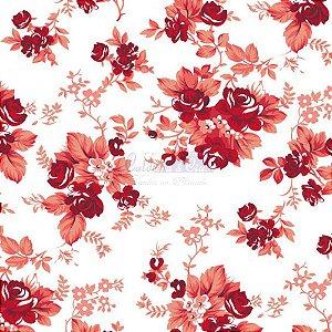 Tricoline Floral Iris Cor 19 (Vermelho) 100% Algodão, Unid. 50cm x 1,50mt