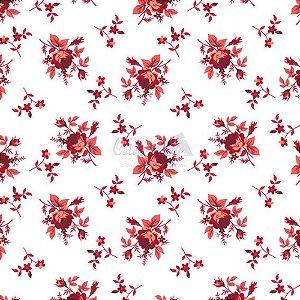 Tricoline Floral Angel Cor 09 (Vermelho) 100% Algodão, Unid. 50cm x 1,50mt