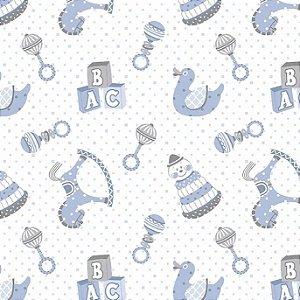 Tricoline Primeiros Brinquedos Azul, 100% Algodão, Unid. 50cm x 1,50mt