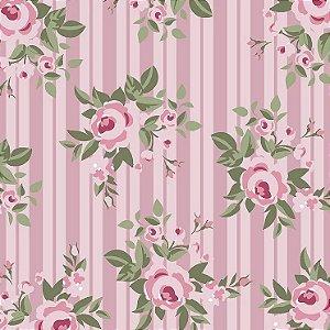 Tricoline Floral Pássaros Rosa, 100% Algodão, Unid. 50cm x 1,50mt