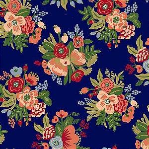 Tricoline Floral Botânica Fundo Azul , 100% Algodão, Unid. 50cm x 1,50mt