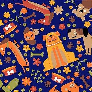 Tricoline Pet Dog Fundo Azul, 100% Algodão, Unid. 50cm x 1,50mt