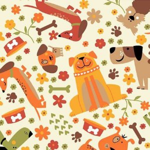 Tricoline Pet Dog Fundo Claro, 100% Algodão, Unid. 50cm x 1,50mt
