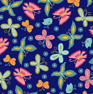 Tricoline Florescer Borboletas Fundo Azul, 100% Algodão, Unid. 50cm x 1,50mt