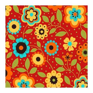 Tricoline Floral Alegria Fundo Vermelho, 100% Algodão, Unid. 50cm x 1,50mt