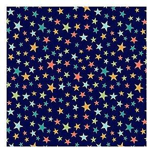 Tricoline Estrelinhas Fundo Azul  - 100% Algodão, Unid. 50cm x 1,50mt