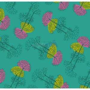 Tecido Arvore Da Vida Cor 01 (Tiffany), 100% Algodão, Unid. 50cm x 1,50mt