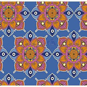 Tecido Mandala Cor 02 (Azul), 100% Algodão, Unid. 50cm x 1,50mt