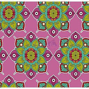 Tecido Mandala Cor 03 (Rosa), 100% Algodão, Unid. 50cm x 1,50mt