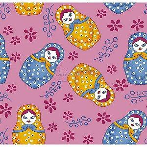 Tecido Matriosca Cor 03 (Rosa), 100% Algodão, Unid. 50cm x 1,50mt
