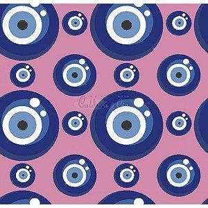 Tecido Olho Grego Cor 03 (Rosa), 100% Algodão, Unid. 50cm x 1,50mt