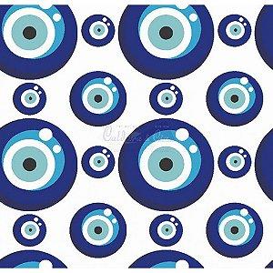 Tecido Olho Grego Cor 04 (Branco com Azul Forte), 100% Algodão, Unid. 50cm x 1,50mt