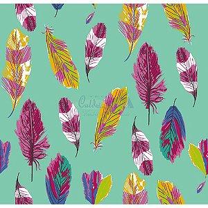 Tecido Penas Cor 01 (Tiffany), 100% Algodão, Unid. 50cm x 1,50mt
