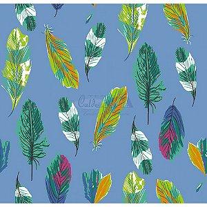 Tecido Penas Cor 02 (Azul), 100% Algodão, Unid. 50cm x 1,50mt