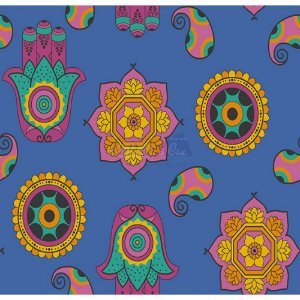 Tecido Talismã Cor 02 (Azul), 100% Algodão, Unid. 50cm x 1,50mt