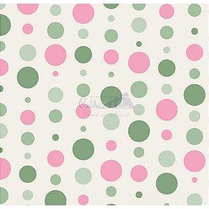 Tecido Bolas Cor 19 (Verde Com Rosa), 100% Algodão, Unid. 50cm x 1,50mt