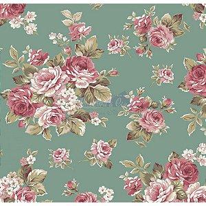 Tecido Floral Amore Cor - 01 (Verde), 100% Algodão, Unid. 50cm x 1,50mt