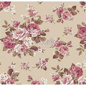 Tecido Floral Amore Cor - 03 (Bege), 100% Algodão, Unid. 50cm x 1,50mt