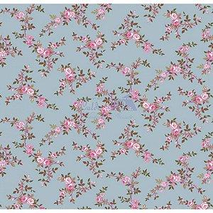 Tecido Floral Di Rose Cor - 02 (Azul Vintage), 100% Algodão, Unid. 50cm x 1,50mt