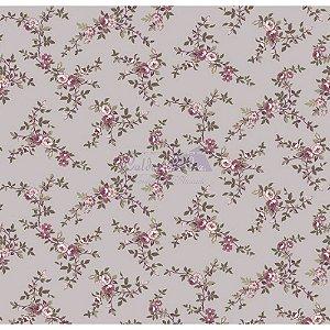 Tecido Floral Di Rose Cor - 04 (Cinza Vintage), 100% Algodão, Unid. 50cm x 1,50mt