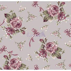 Tecido Floral Fiore Cor - 04 (Cinza Vintage), 100% Algodão, Unid. 50cm x 1,50mt