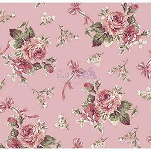 Tecido Floral Fiore Cor - 05 (Salmão), 100% Algodão, Unid. 50cm x 1,50mt
