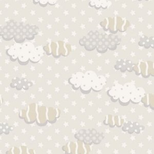 Tricoline Nuvens Bege, 100% Algodão, Unid. 50cm x 1,50mt