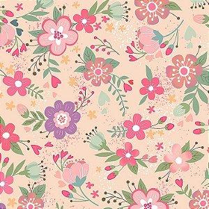 Tricoline Digital Floral Viva La Vida Happy 100% Algodão, Unid. 50cm x 1,50mt