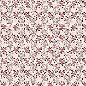 Tricoline Corações Riscados Rosa, 100% Algodão, Unid. 50cm x 1,50mt