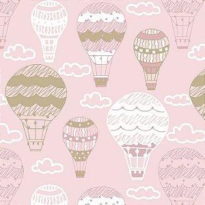Tricoline Balões Rosa, 100% Algodão, Unid. 50cm x 1,50mt