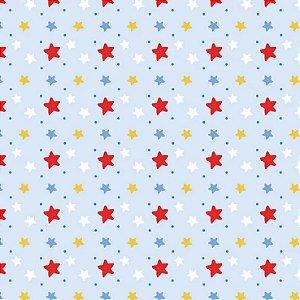 Tricoline Estrelinhas Azuis, 100% Algodão, Unid. 50cm x 1,50mt