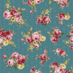 Tricoline Floral Arabesque Turmalina, 100% Algodão, Unid. 50cm x 1,50mt