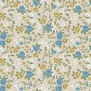 Tricoline Rosinhas Creme com Azul, 100% Algodão, Unid. 50cm x 1,50mt