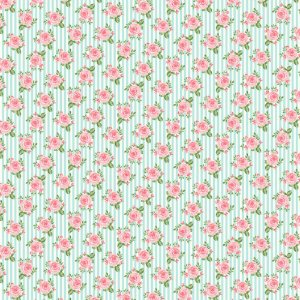 Tricoline Rosas em Fundo Listrado, 100% Algodão, Unid. 50cm x 1,50mt