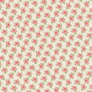 Tricoline Rosas em Fundo Listrado Creme, 100% Algodão, Unid. 50cm x 1,50mt
