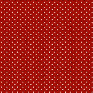 Tricoline Poá Tom Tom (Vermelho Forte) - 100% Algodão, Unid. 50cm x 1,50mt
