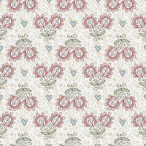 Tricoline Floral Libélulas Fundo Bege, 100% Algodão, Unid. 50cm x 1,50mt