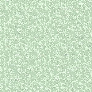 Tricoline Raminhos Verde Água, 100% Algodão, Unid. 50cm x 1,50mt