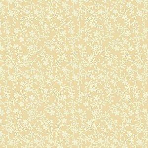 Tricoline Raminhos Amarelo Claro, 100% Algodão, Unid. 50cm x 1,50mt