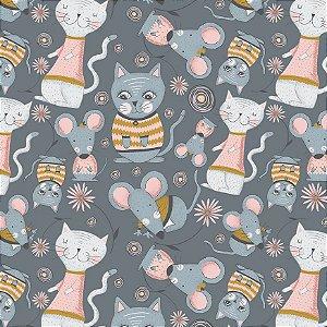 Tricoline Kitty Garden Cinza, 100% Algodão, Unid. 50cm x 1,50mt