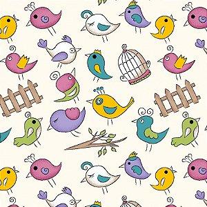 Tricoline Mini Birds Creme, 100% Algodão, Unid. 50cm x 1,50mt