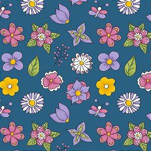 Tricoline Mini Flower Azul, 100% Algodão, Unid. 50cm x 1,50mt