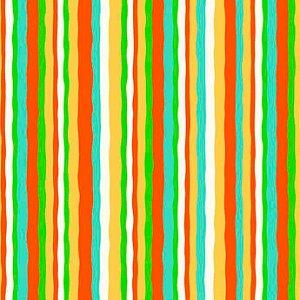 Tricoline Listrado Colorido (Laranja, verde e Azul) - 100% Algodão, Unid. 50cm x 1,50mt