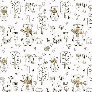 Tricoline Urso com Cachecol, 100% Algodão, Unid. 50cm x 1,50mt