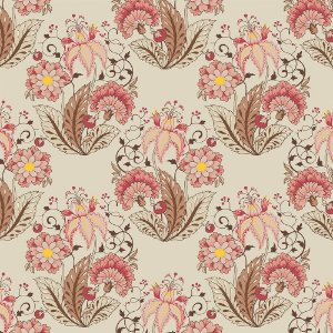 Tricoline Floral Jacobean Creme, 100% Algodão, Unid. 50cm x 1,50mt