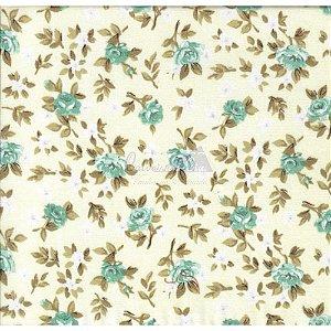 Tricoline Estampado Floral Lúcia Cor - 04 (Amarelo Com Turquesa), 100% Algodão, Unid. 50cm x 1,50mt