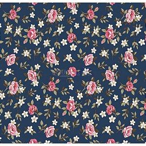 Tricoline Estampado Floral Lúcia Cor - 12 (Marinho), 100% Algodão, Unid. 50cm x 1,50mt