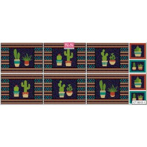 Tricoline Painel Cactus Azul, 100% Algodão, Unid. 60cm x 1,50mt