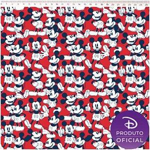 Tricoline Personagem Mickey Vintage, 100% Algodão, Unid. 50cm x 1,50mt